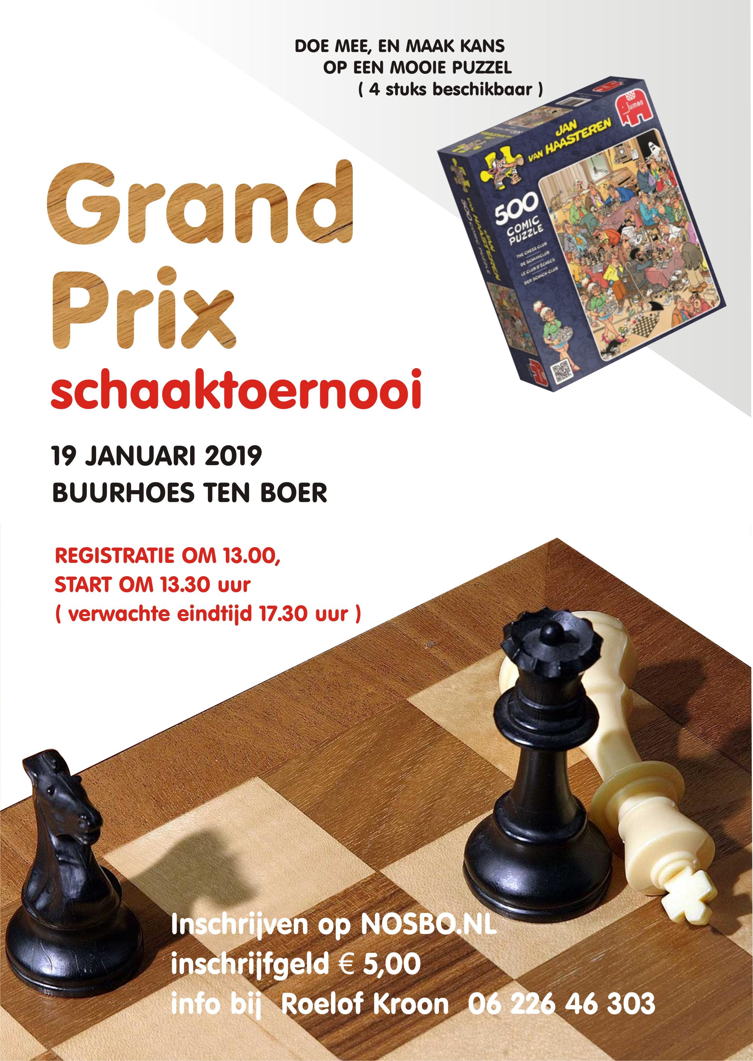 Flyer schaaktoernooi Ten Boer 2019
